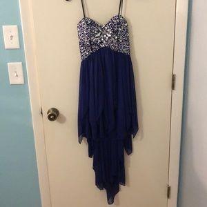 Strapless dark purple high-low HC/prom dress